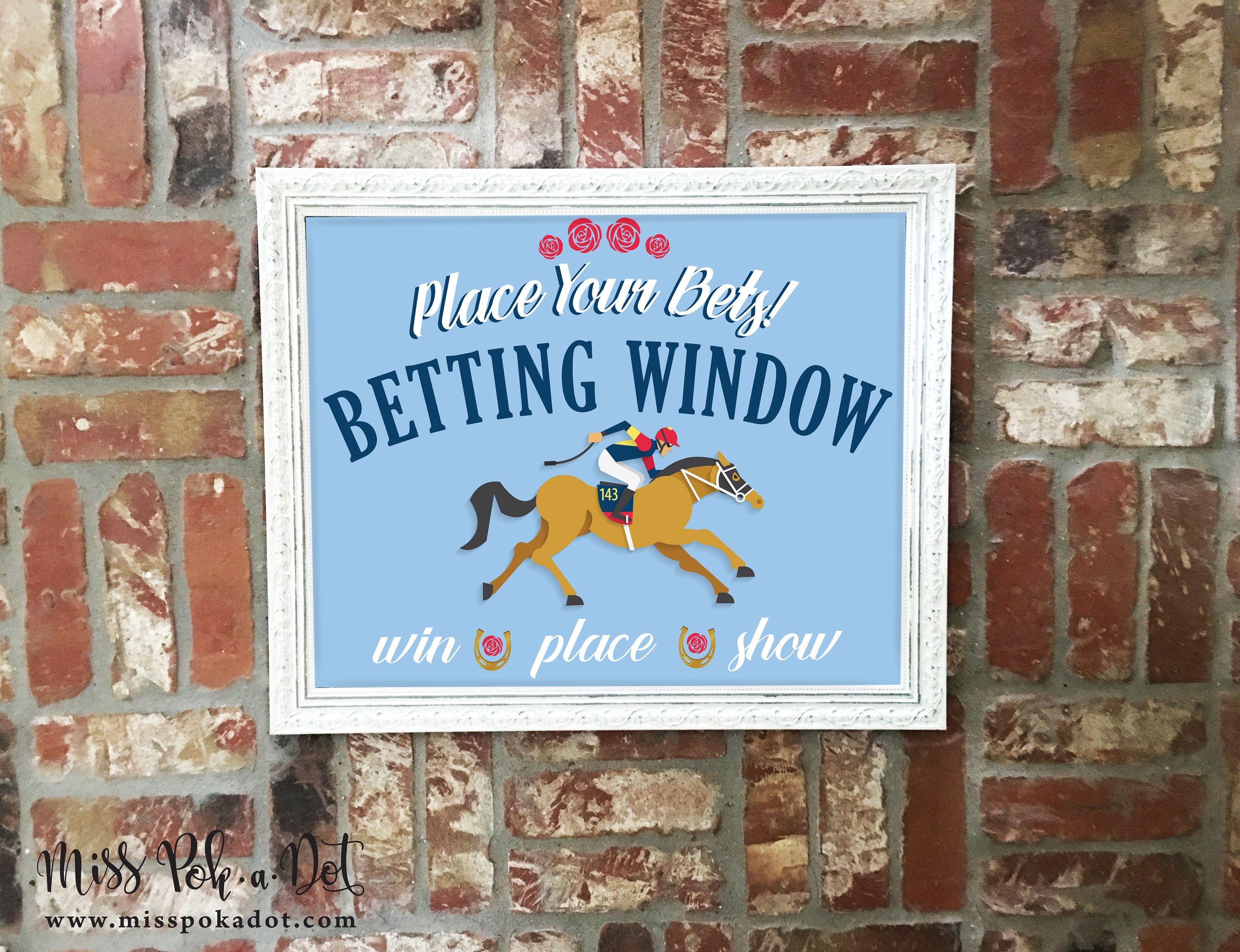 Kentucky Derby Party Sign, Printable, Betting Window, Horse, Place ...