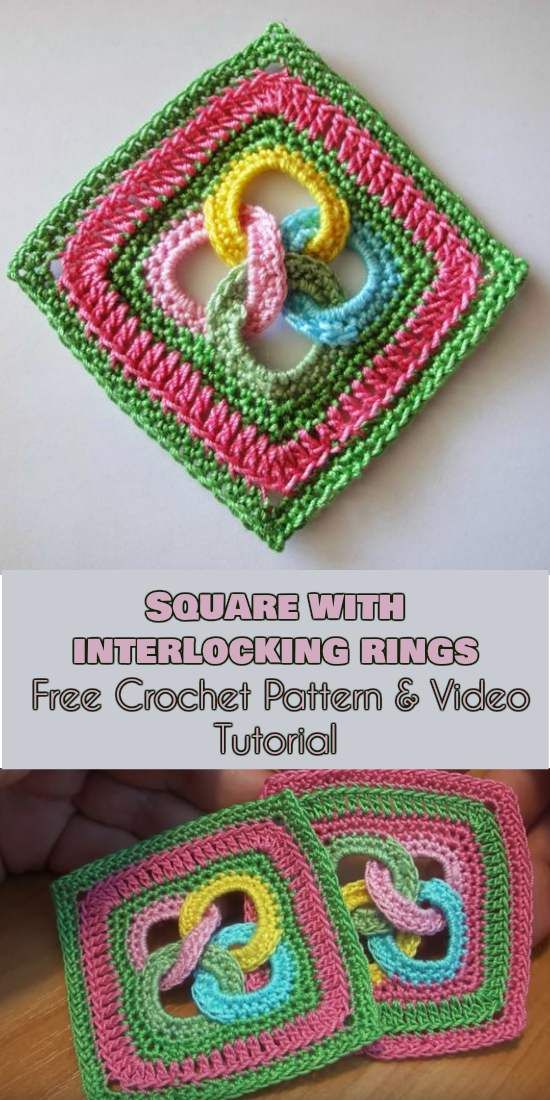Square with Interlocking Rings [Free Crochet Pattern and Video ...