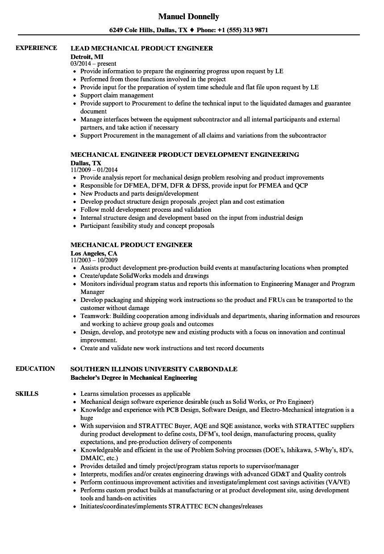 mechanical product engineer resume sample Wunderschön