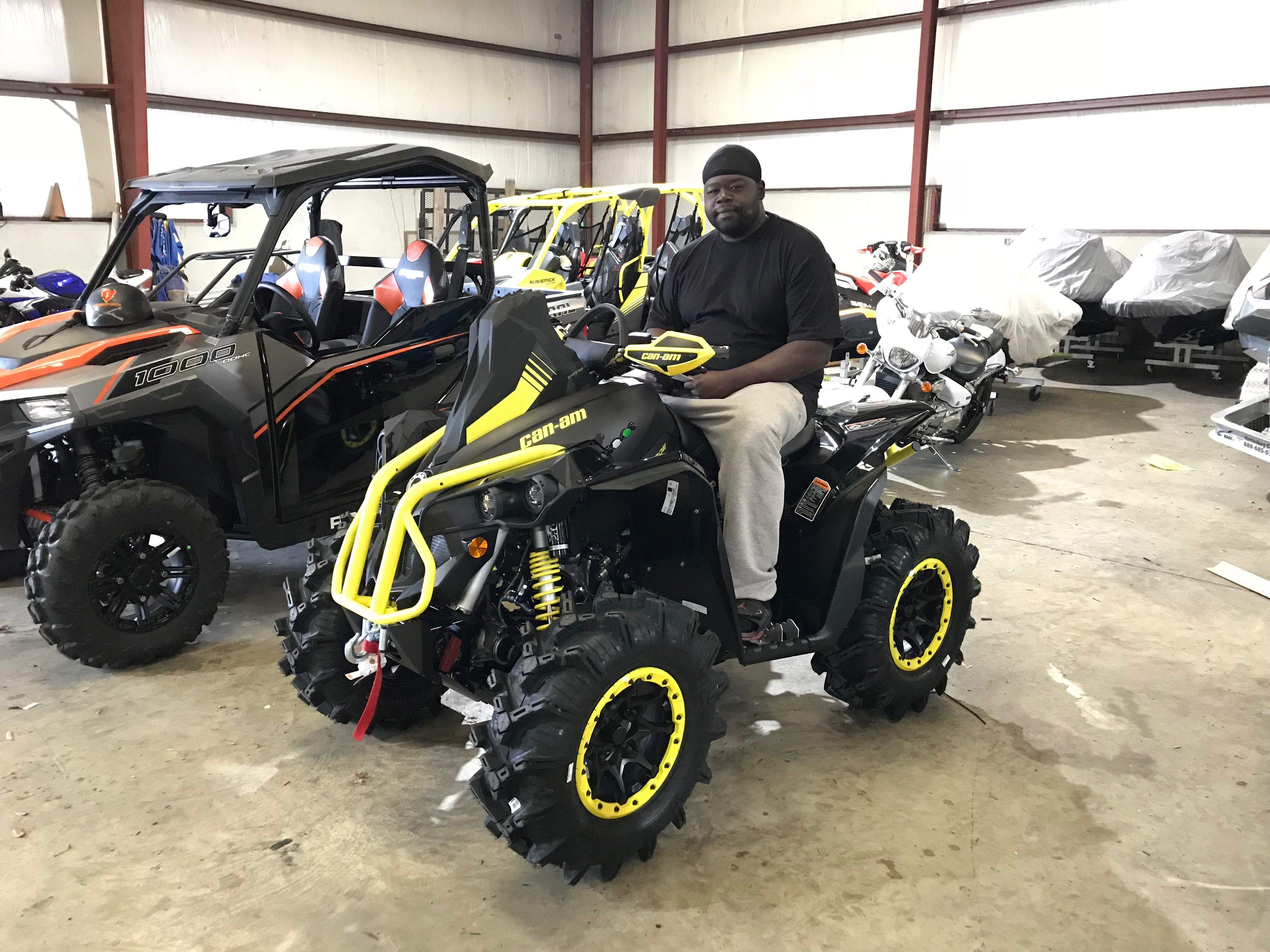 Congratulations To Alan Lang From Wagarville Al For Purchasing A 2018 Can Am Renegade Xmr 1000r At Hattiesburg Cycl Hattiesburg Monster Trucks Happy Customers