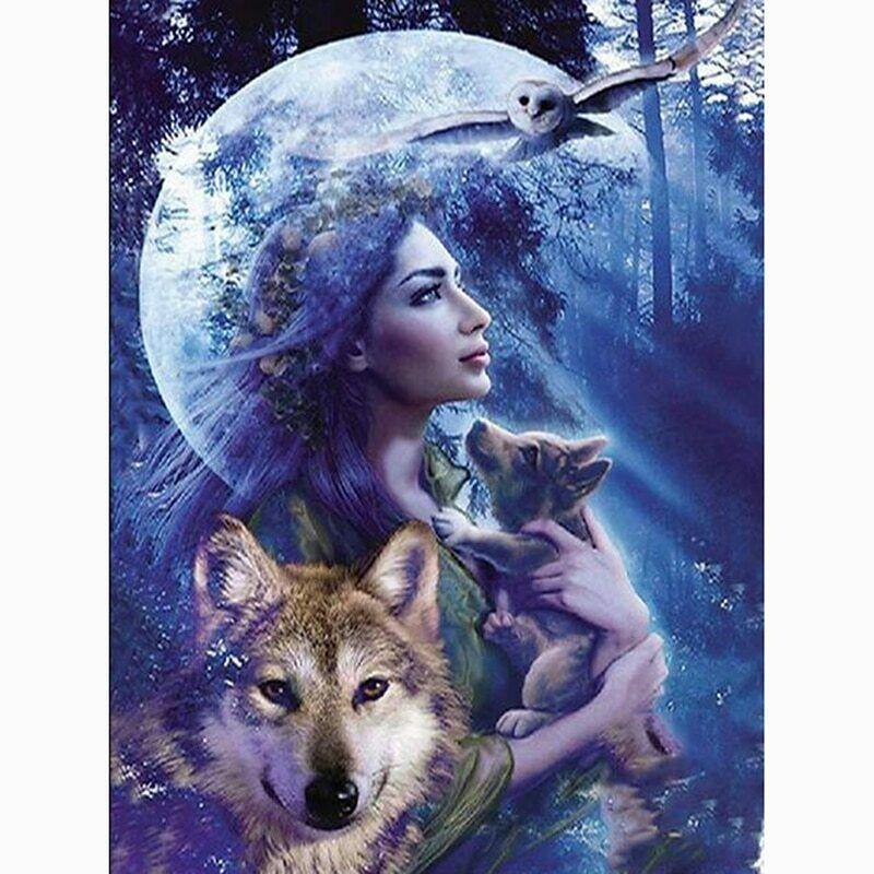 Wolf /& Girl 5D Diamond Painting Animals Embroidery Art Cross Stitch Kit Gifts UK