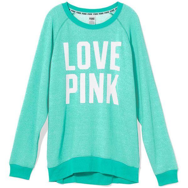 Green Victorias Secret Pink Boyfriend Crew