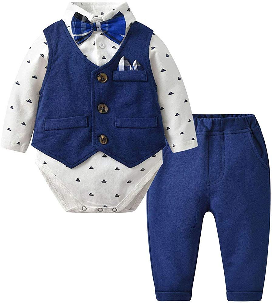 Baby Boy Gentleman Formal Bodysuit Outfit with Waist Coat 6 months 2 years