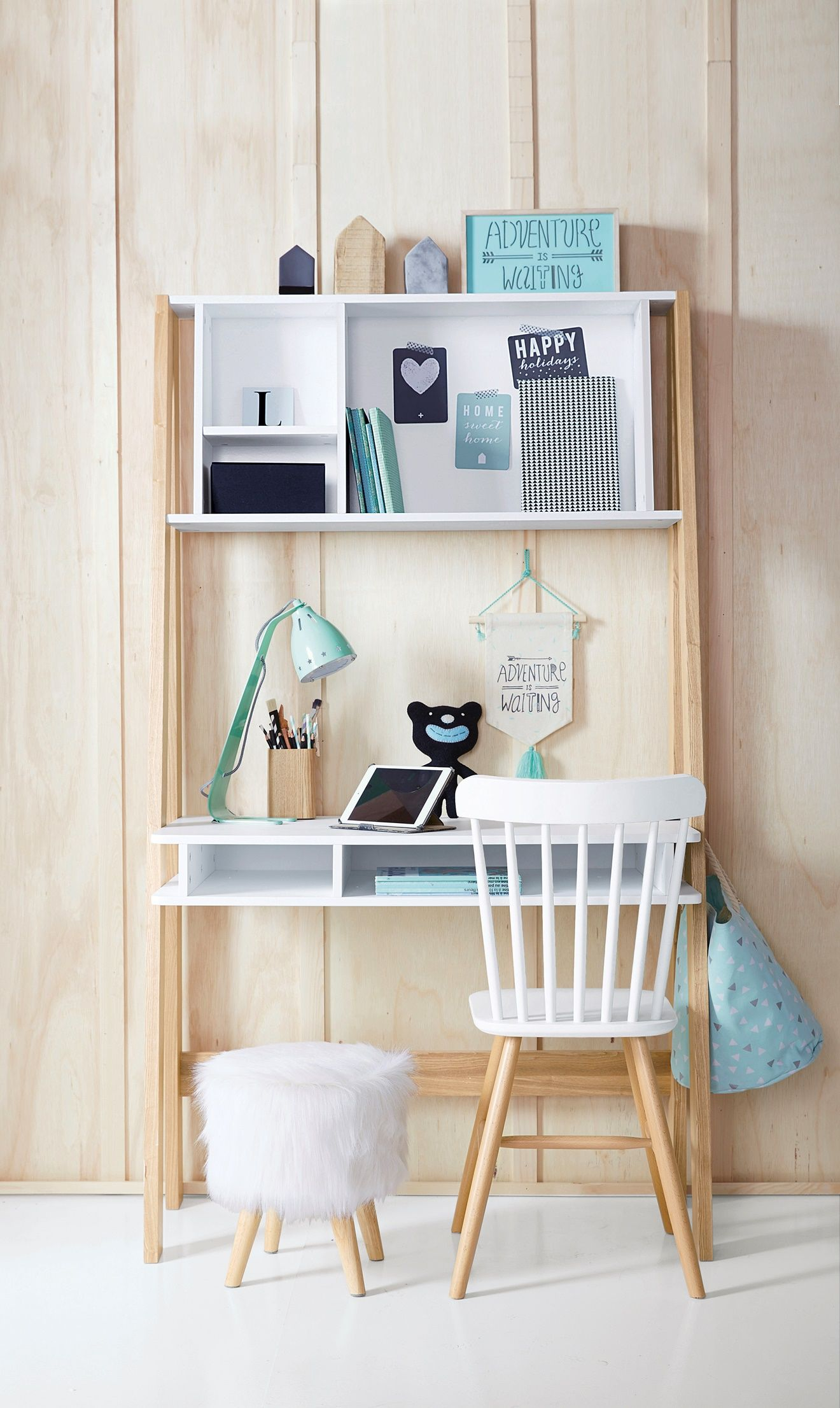 bureau special primaire avec etageres ligne architekt blanc bois 2 en 1 ultra fonctionnel
