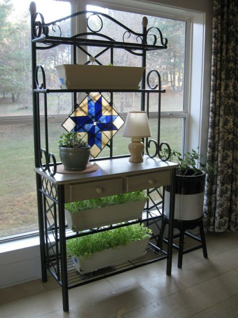 Like The Bakers Rack In Front Of Window With The Stained Glass