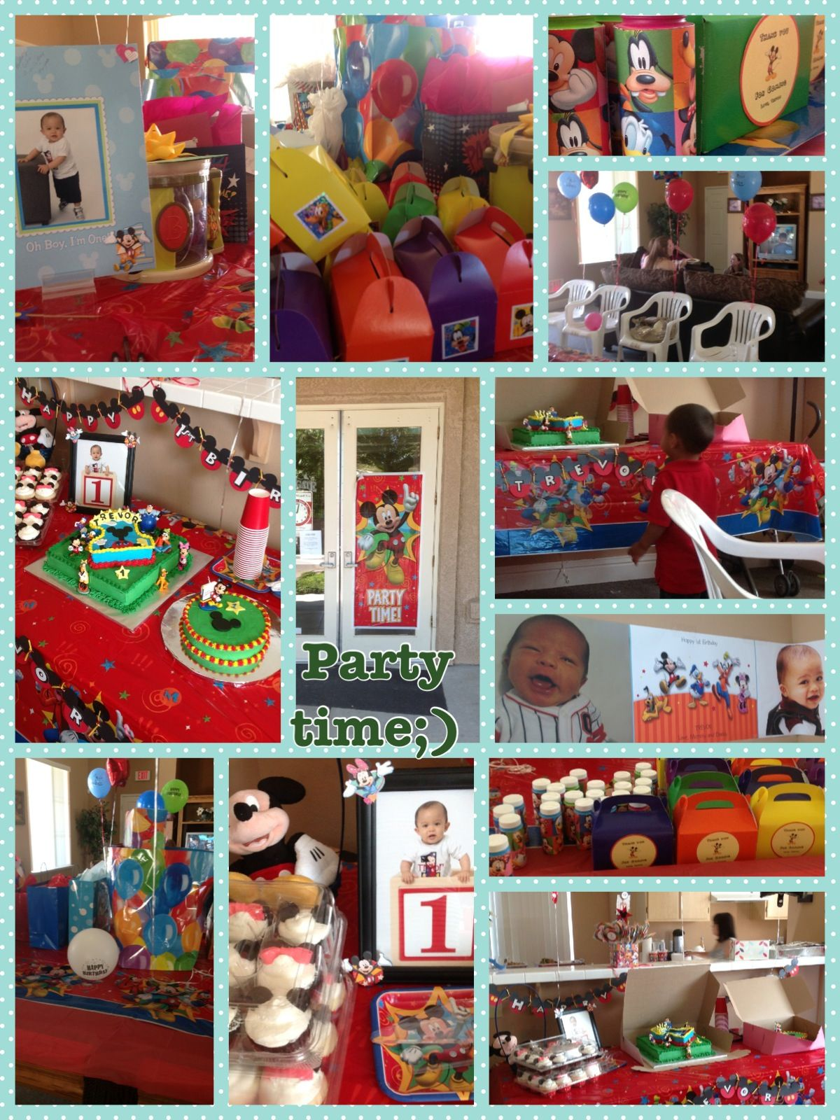 Mickey Mouse clubhouse .Banner from Walgreens photo .Party favor box ...