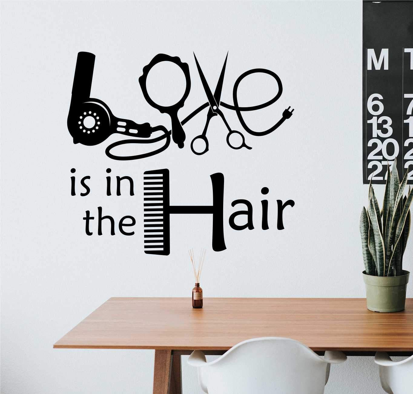 Hair Salon Wall Decal Love Is In The Hair Hairdresser Decor Hair Salon Design Hair Salon Hair Salon Decor [ 1304 x 1364 Pixel ]