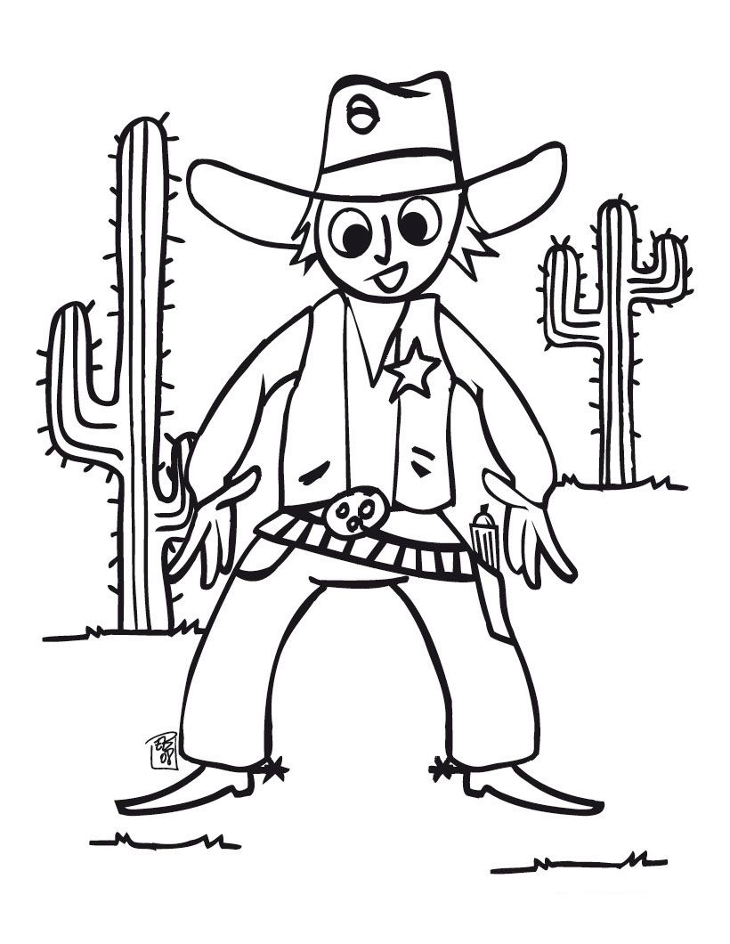 Free Cowboy Coloring Pages With Printable Cowboy Coloring Pages For Kids