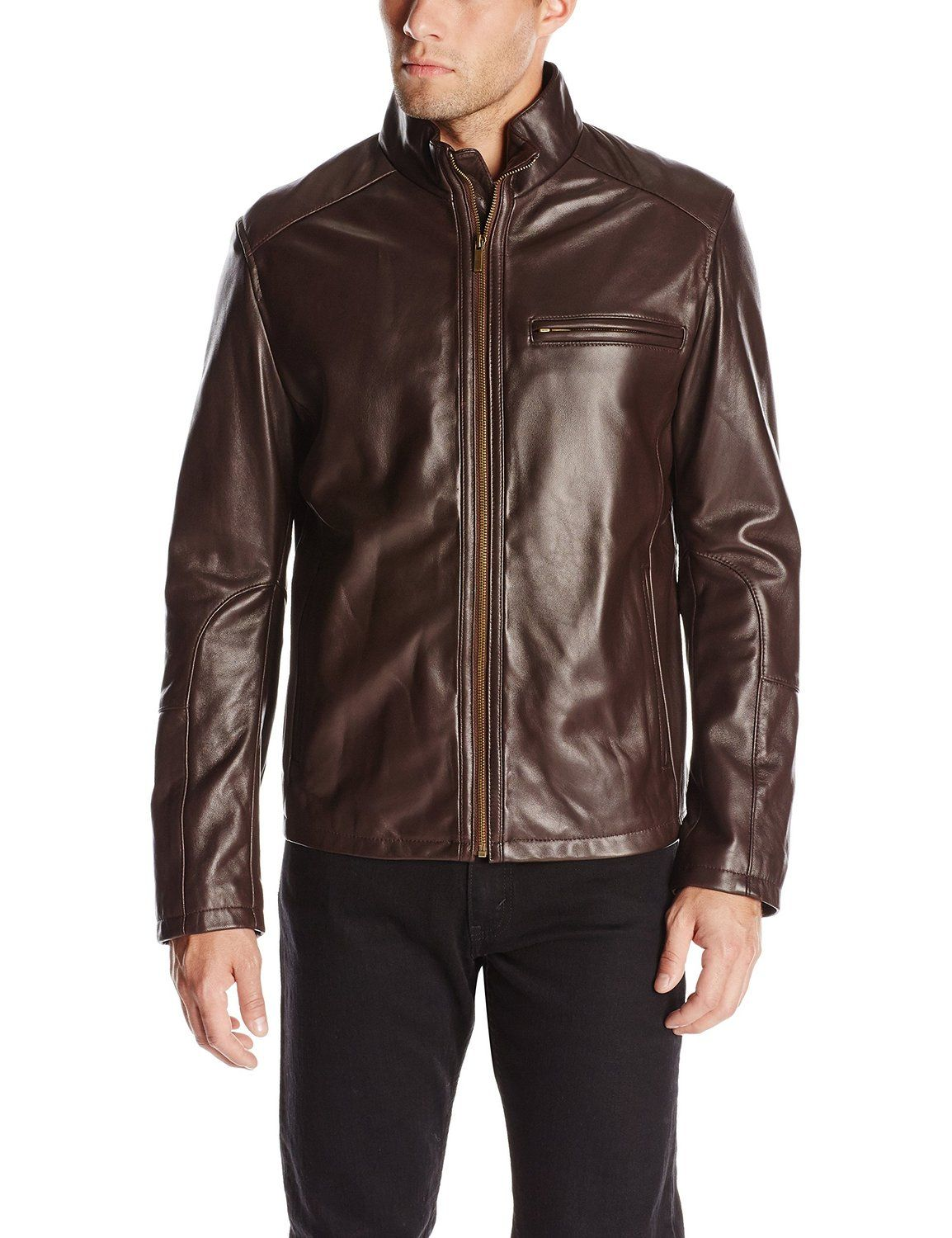 Cole Haan Men's Smooth Leather Moto Jacket at Amazon Men's