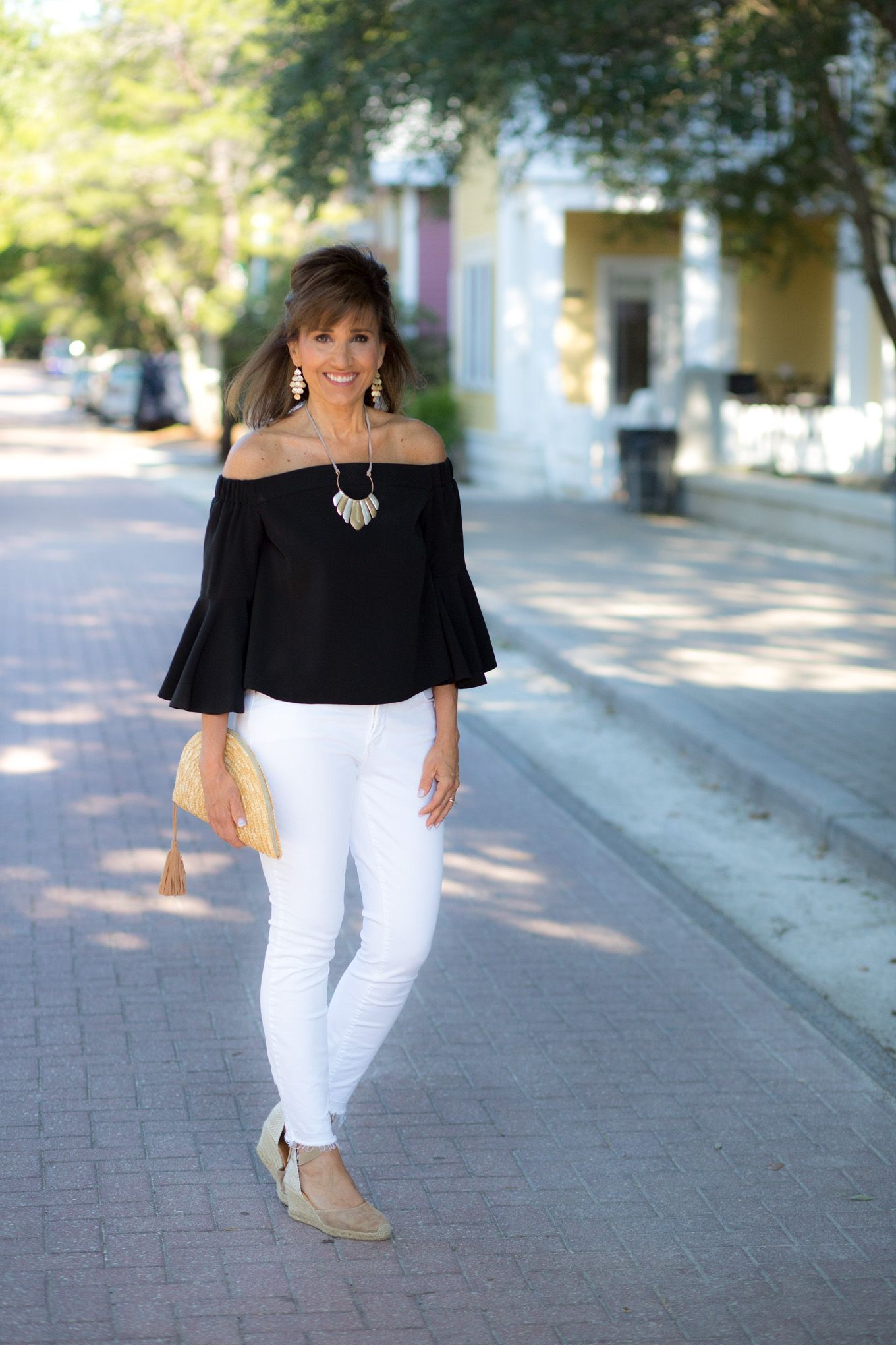 TopShop Off the Shoulder Top + White Jeans | CYNDI SPIVEY ...