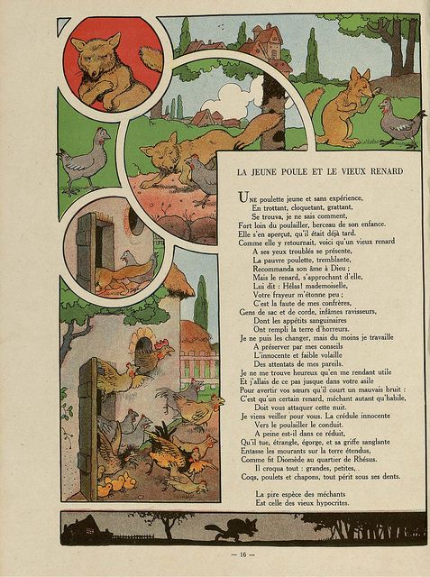 Fables De Florian Illustrees Par Benjamin Rabier 1936 La Jeune Poule Et Le Vieux Renard Fox Illustration Children S Book Illustration Illustration