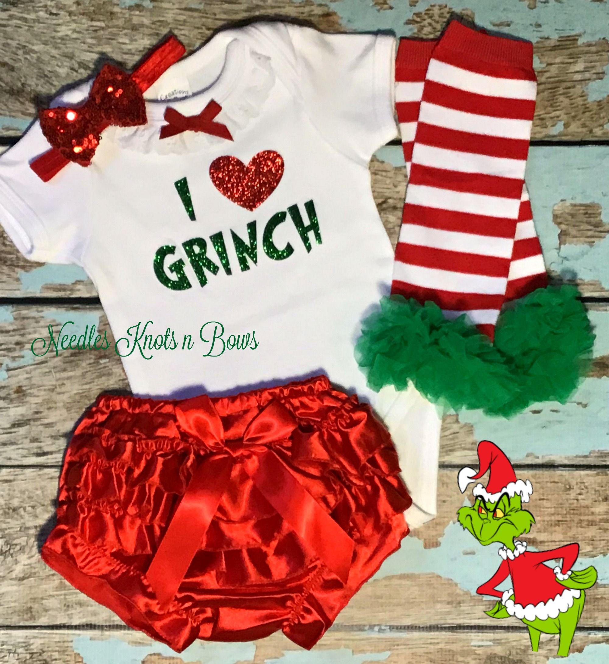Grinch Bodysuit /& Bloomer Set Girls Christmas Outfit Baby Girls 4pc Christmas Grinch Bloomer Outfit Christmas Outfit Grinch Outfit