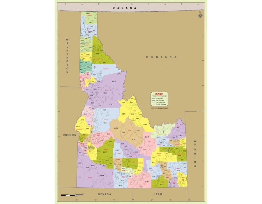 Idaho Map By County.Idaho Zip Code Map With Counties Store Mapsofworld Pinterest