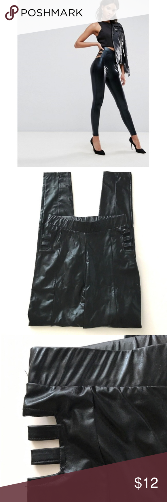 ff6c7915674fb4 Asos Legging Wet Look with Cut Out Detail ASOS Women's Legging, Black Size  6 Wet Look with Cut Out Detail Pre-Owned, Good Condition.