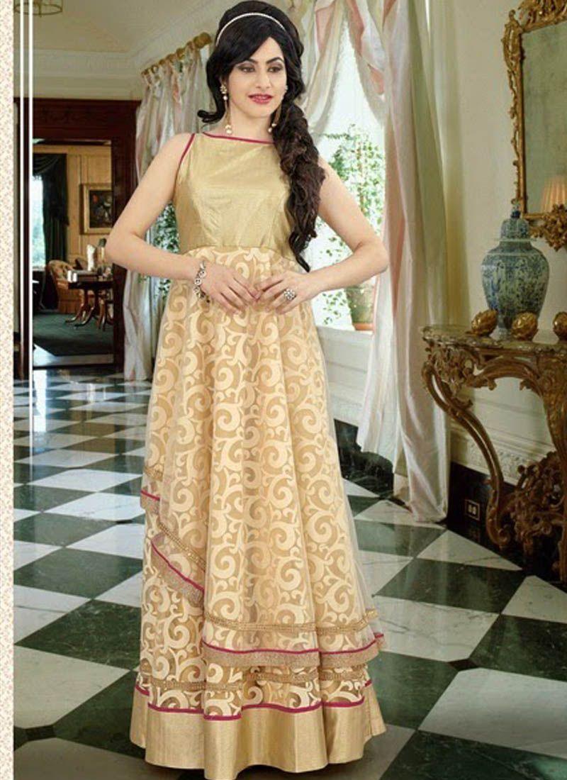 Ebony offwhite georgette indowestern gown indo western gown
