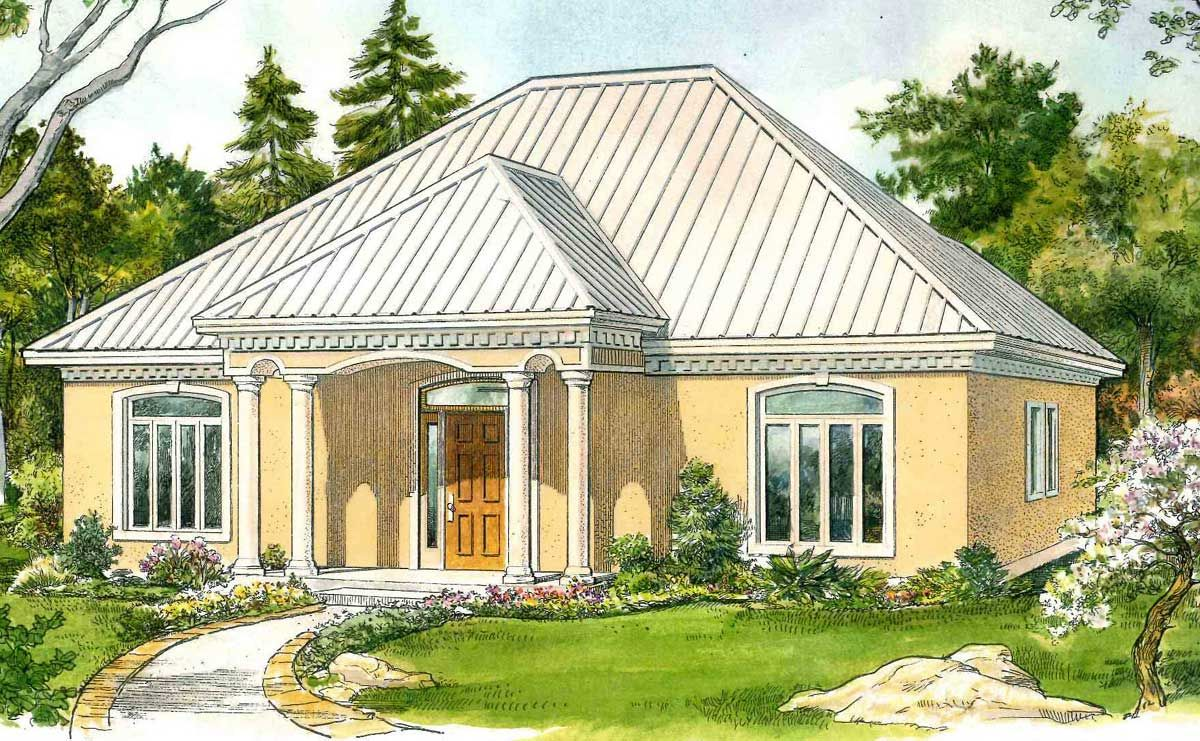Plan 46058hc Southern Cottage With Exterior Options Stucco Homes Cottage House Plans Southern Cottage
