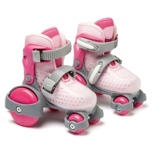 Voici des rollers innovants : comme des patins à roulettes, ils ont 4 roues. 2 petites roues à l ...