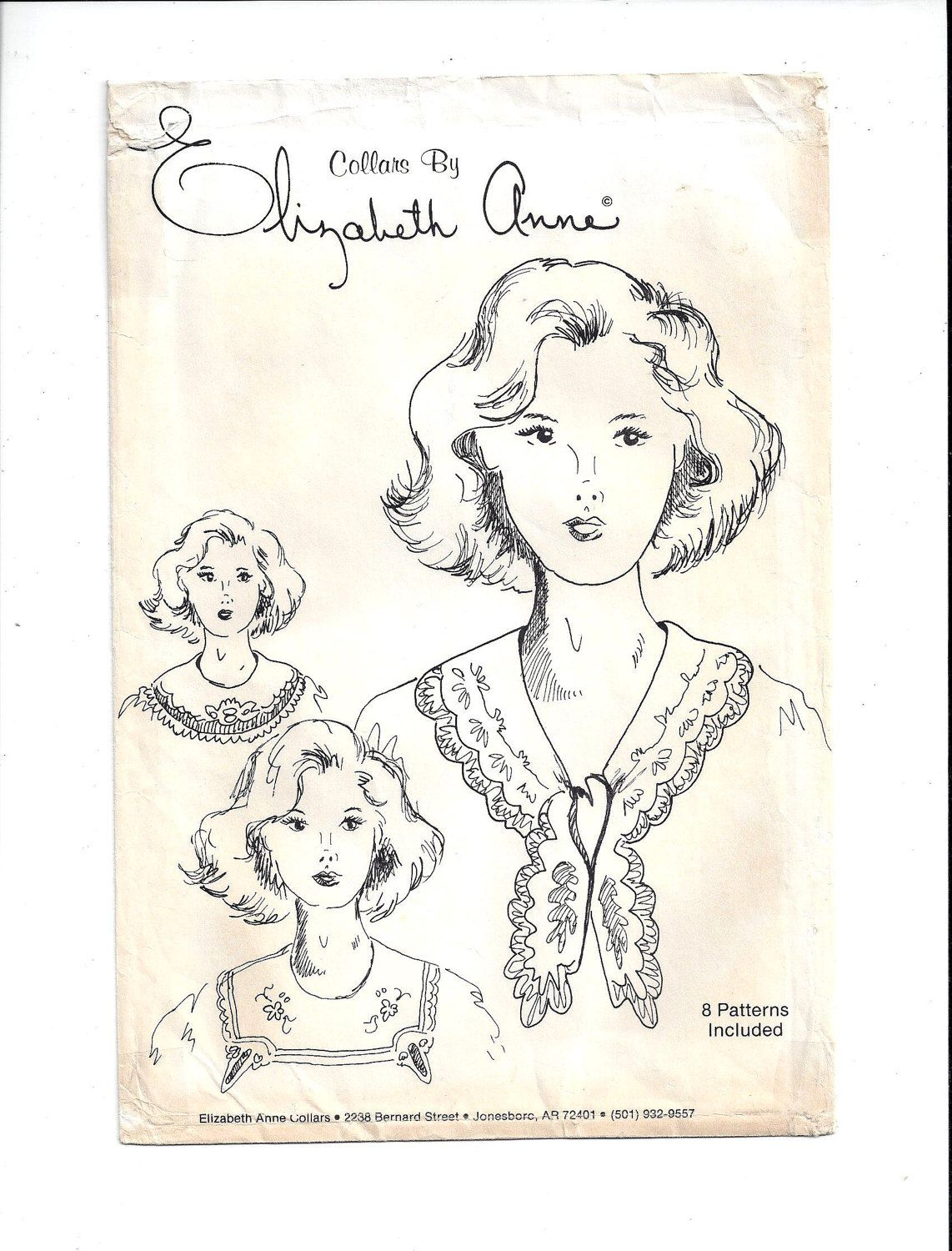 Elizabeth Anne Pattern for 8 Collars from Upcycled Table Linens, FACTORY FOLDED & UNCUT, From 1980s, Home Sewing Pattern, Vintage Pattern by VictorianWardrobe on Etsy