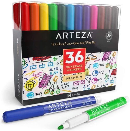 Dry Erase Markers Fine Tip 12 Assorted Colors Set Of 36 Arteza In 2020 Arteza Fineliner Pens Dry Erase Markers