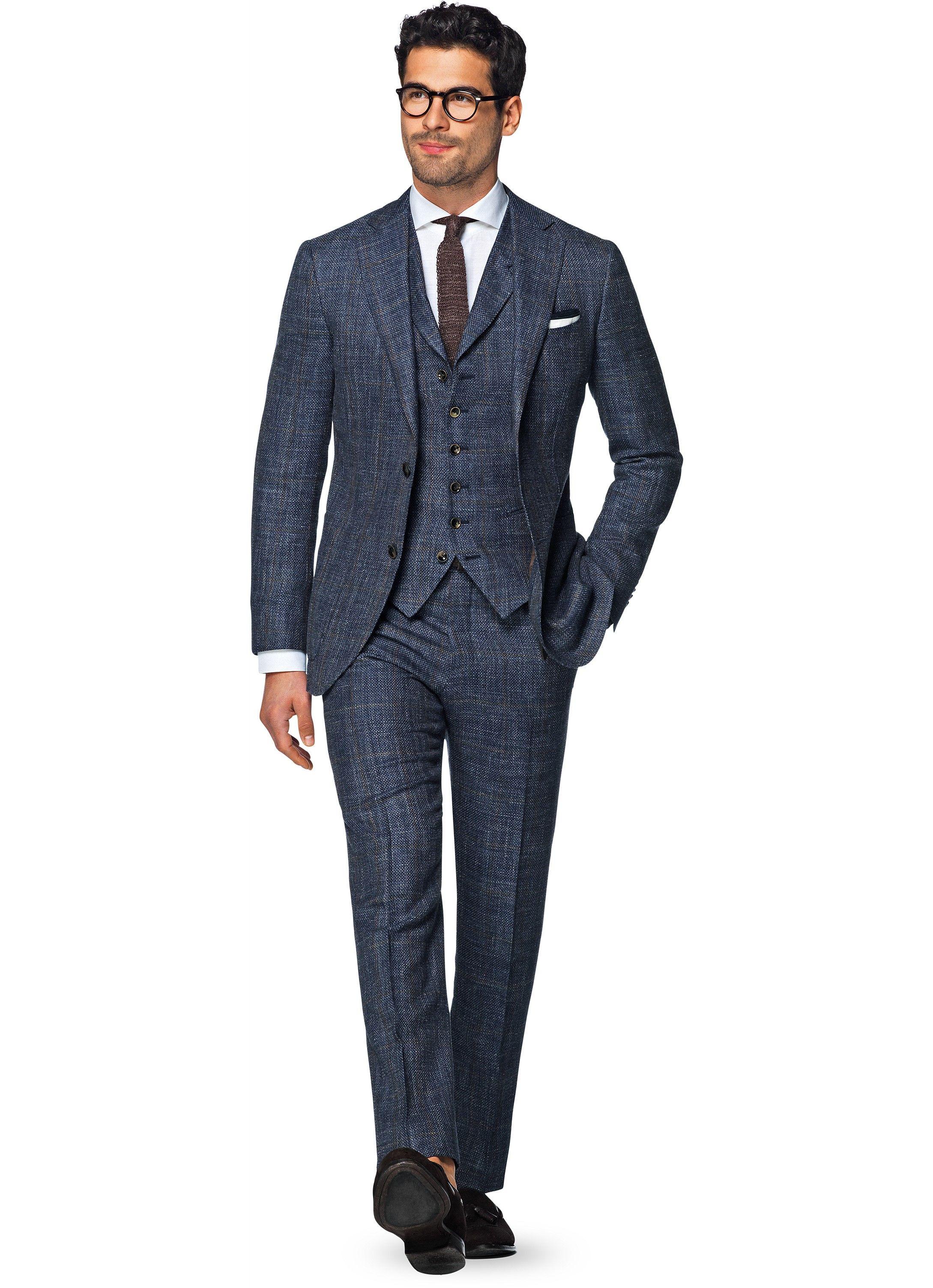 8008be7ac92486 HAVANA BLUE CHECK  699 USD Description This blue checked Havana 3-piece  suit makes an
