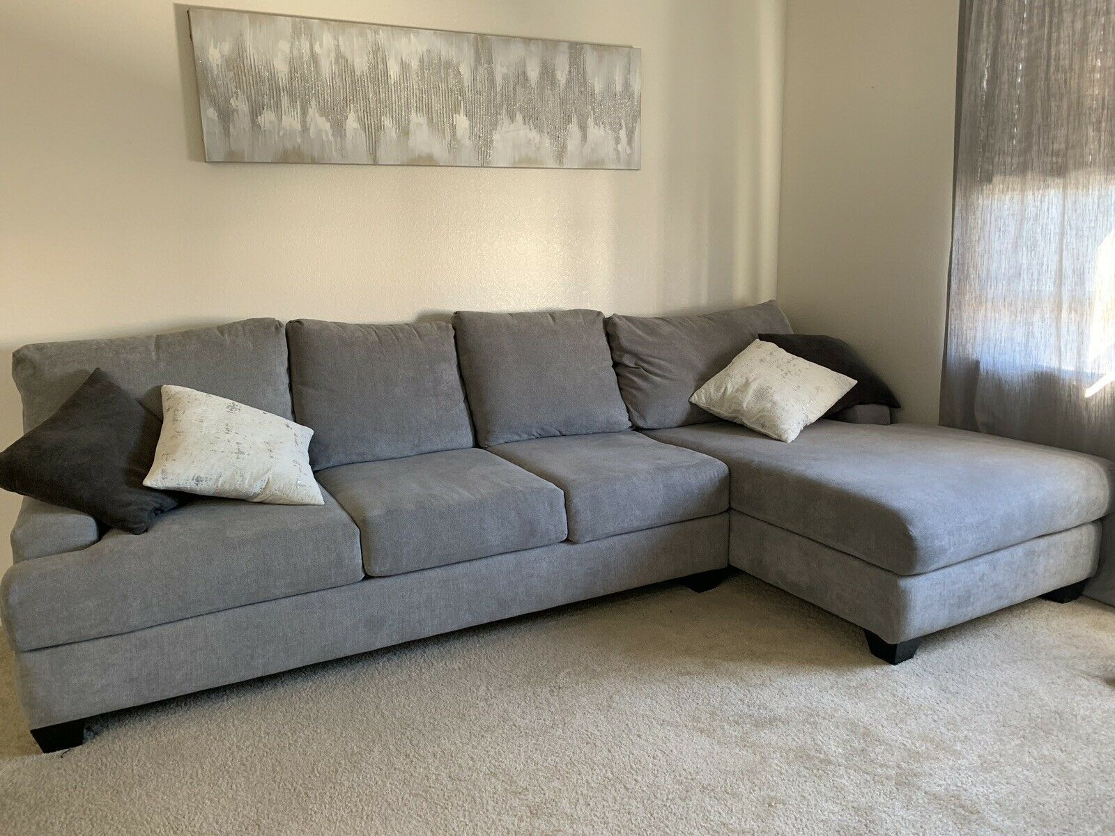 Living Spaces Modern Living Room Couch Furniture Sofa Grey Sofa