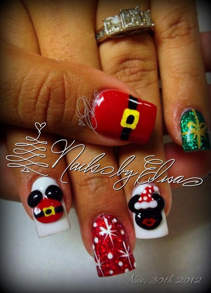 Mickey And Minnie Mouse Christmas Nails Christmas Nail Art Nail Art Holiday Nail Art