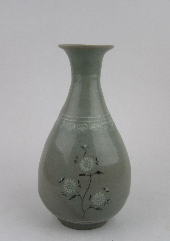 Koryo Celadon Pear Shaped Vase With Inlaid White And Black