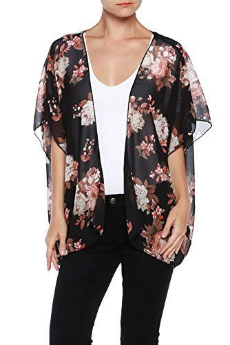 Women's Floral Print Sheer Chiffon Loose Kimono Cardigan | Sheer ...