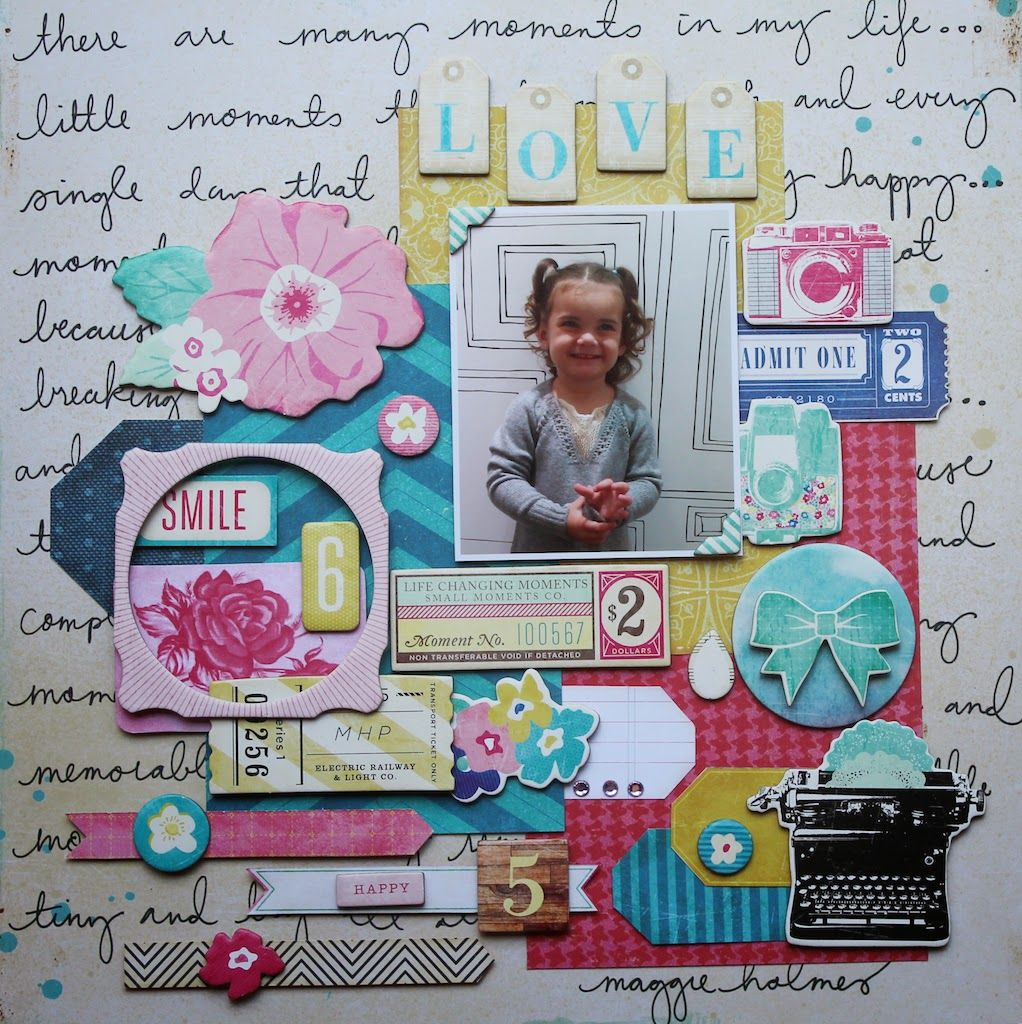 Layout using Crate Paper, Maggie Holmes Collection Flowers and Papers