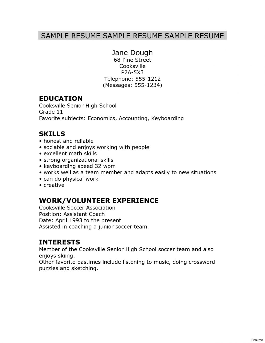 Resume Format High School Graduate Resume Format High