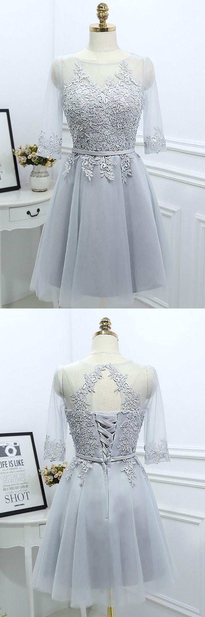 Grey Lace Short Reception Party Dress With Illusion Neck Sleeves ...