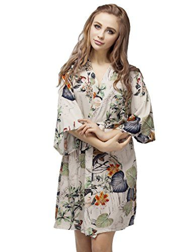 Skyfitting Womens Kimono Robe Short Length Cotton Bridesmaid Robes Regular  Size 36 Length Orange Flowers    See this great product. 5a921e418