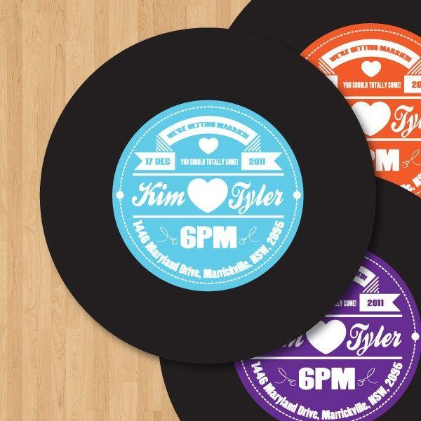 Vinyl record label wedding invitation diy set printable for Etsy vinyl wedding invitations