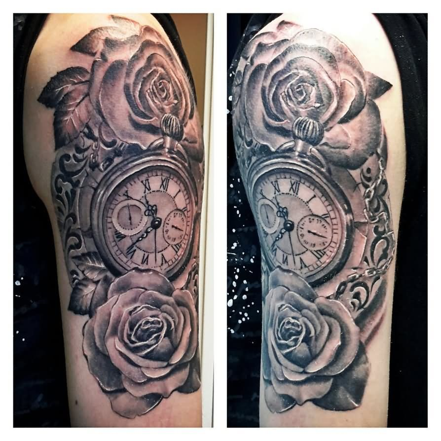 Clock forearm black rose sleeve tattoo - Image Result For Travel Tattoo Half Sleeve Themes