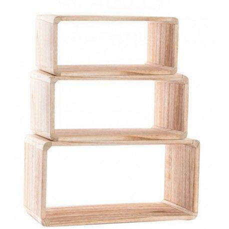 Estantería Set 3 Módulos Cubos Madera Natural Rectangular