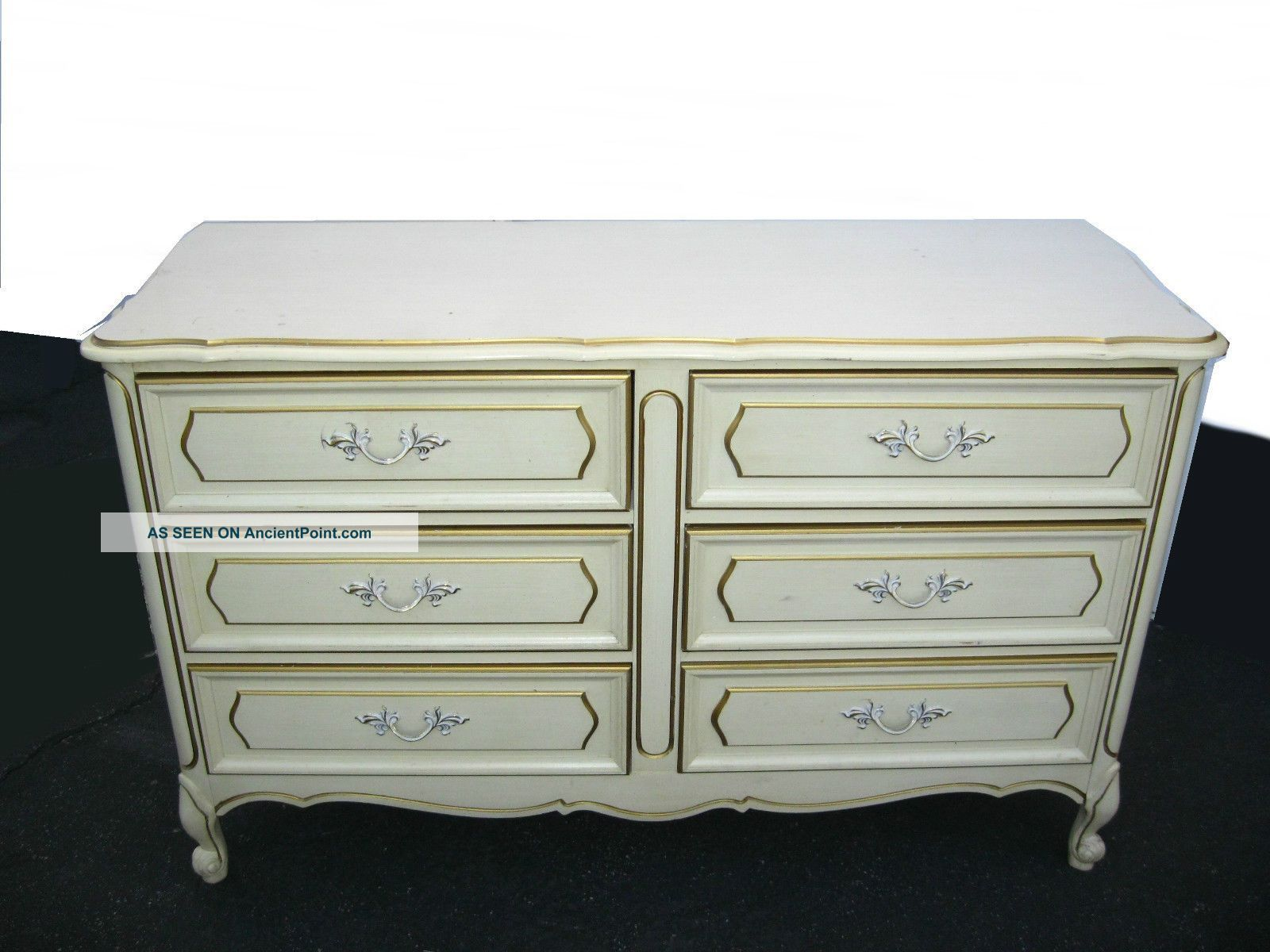 Vintage Henry Link French Provincial Off White Dresser W 6 Drawers Dixie Style Post