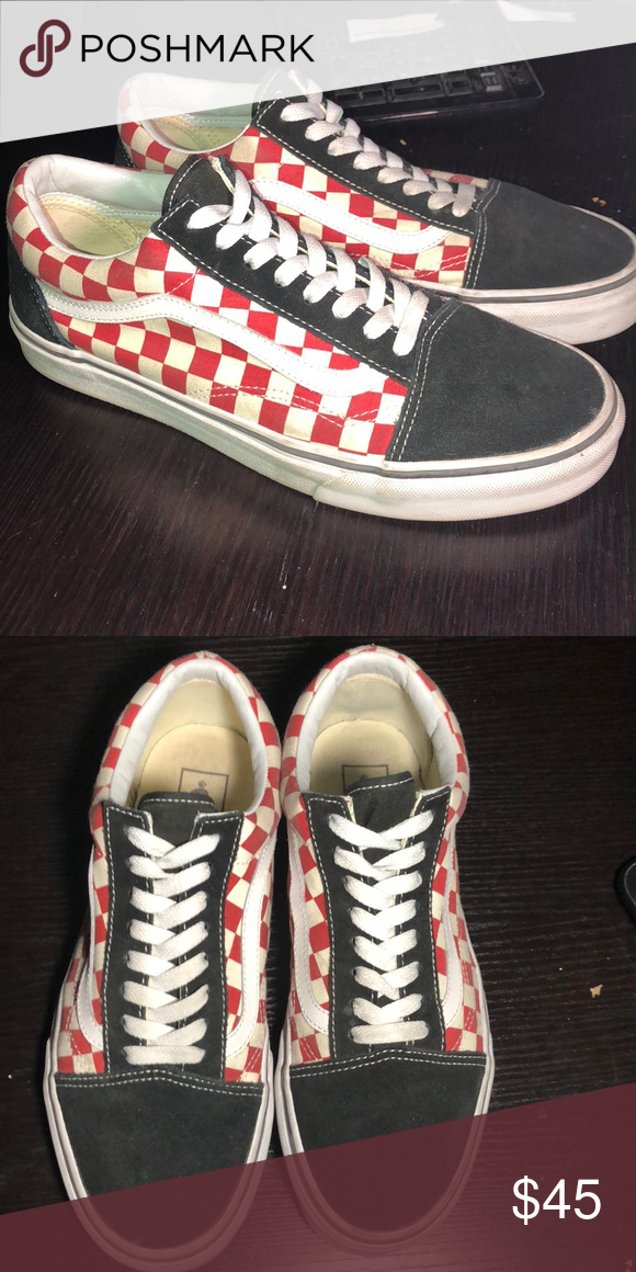 Old Skool Solid Black and Red Checkered Vans Worn few times