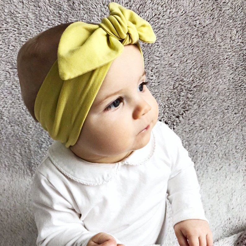 Top Knot Baby Headband Pastel Hair Bow Hand Tied Bow Gift for Baby Girls Pink Turban Headwrap Infant Bow Headband Baby Girl Bow