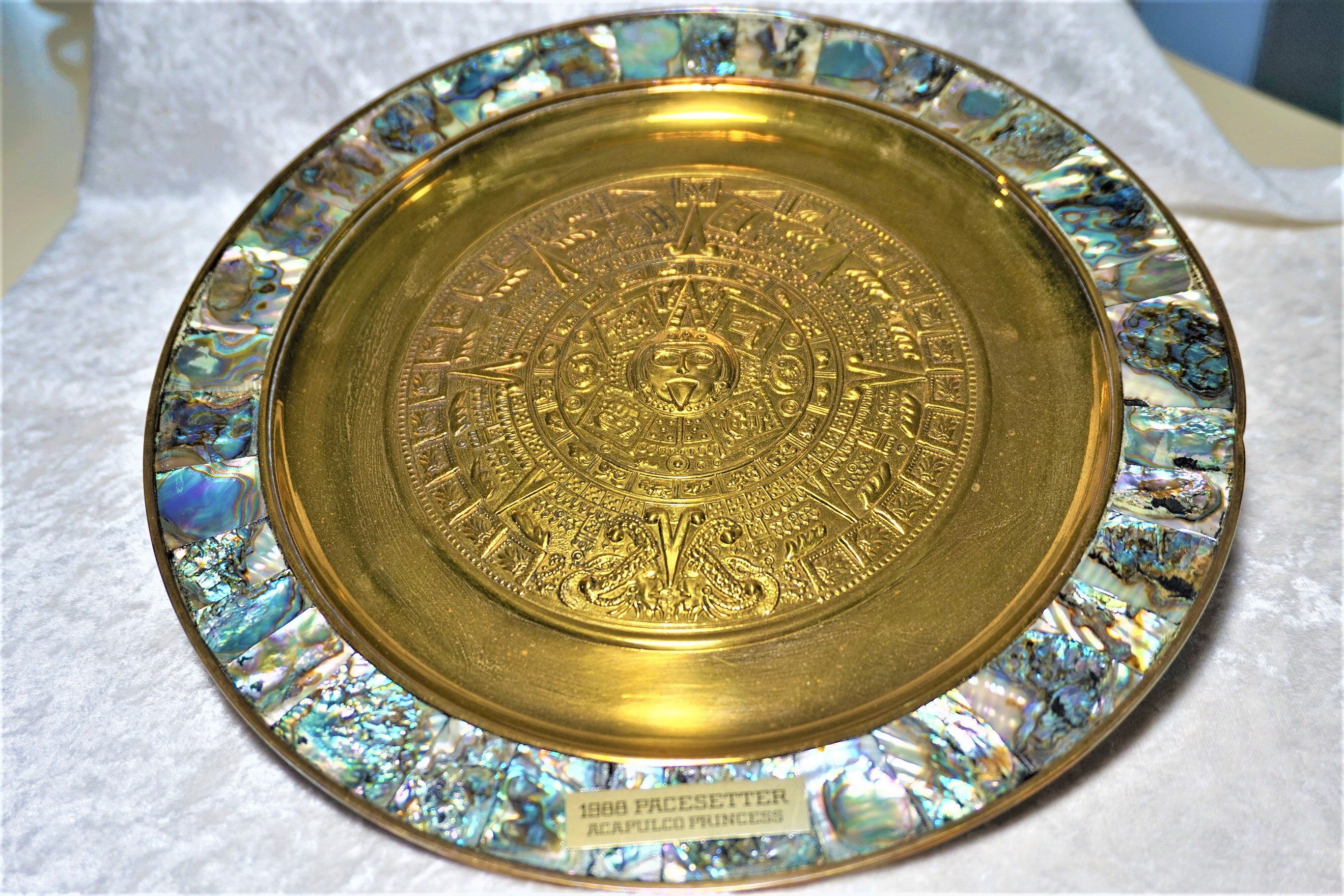 Vintage Abalone & Alpaca Silver Wall Hanging Plate Rare Find ...