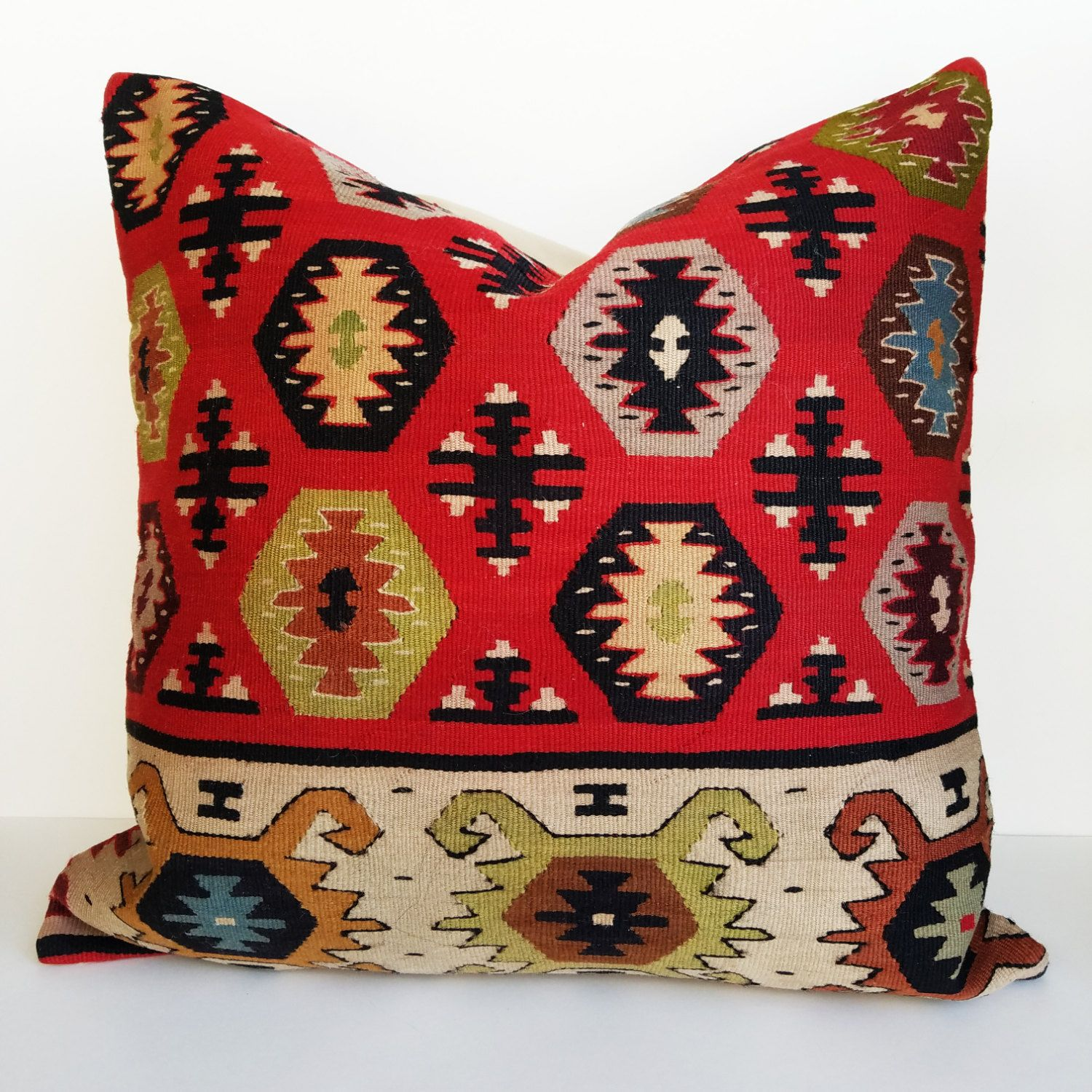 Kilim Pillow with Insert - Made from Vintage Kilim Area Rug ...