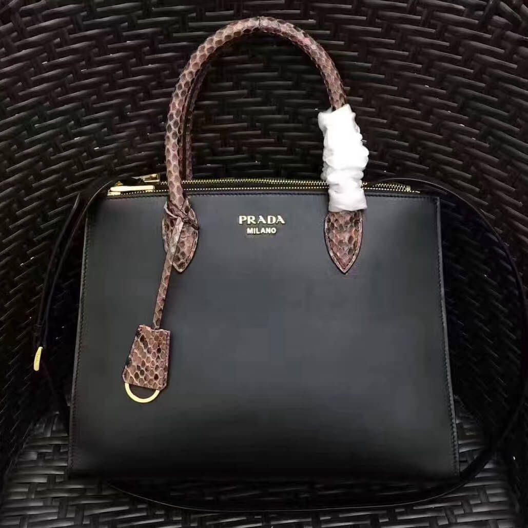 Prada 1BA102 Calf Leather Paradigme Bag With Python Handle Black Deep Red  2017 b3b8eb6aeab88