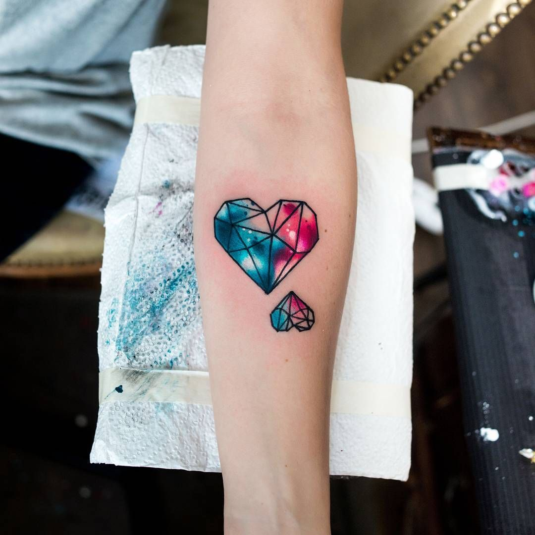 584043420b69e Geometric Watercolor Heart Tattoos by - Kateryna Zelenska (@tattoozelenska)  on Instagram