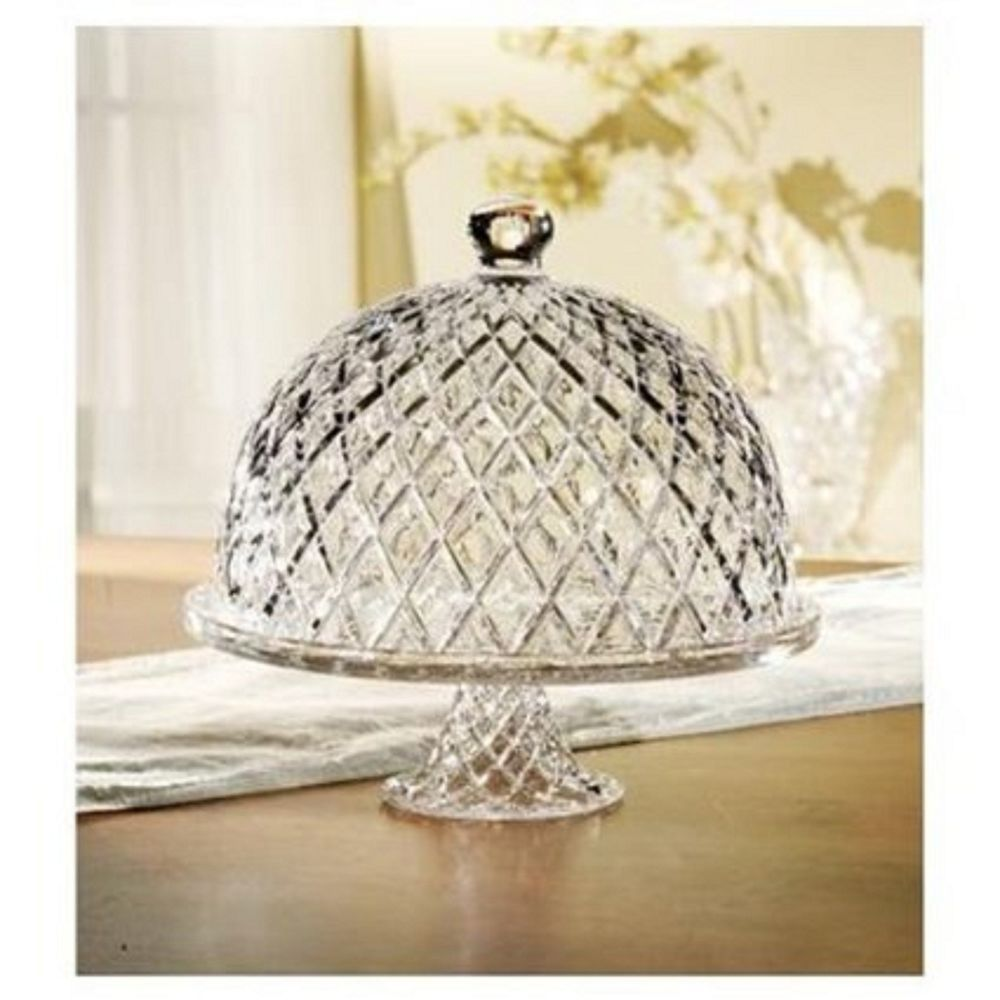 Cake glass stand pedestal dome lid clear plate cover