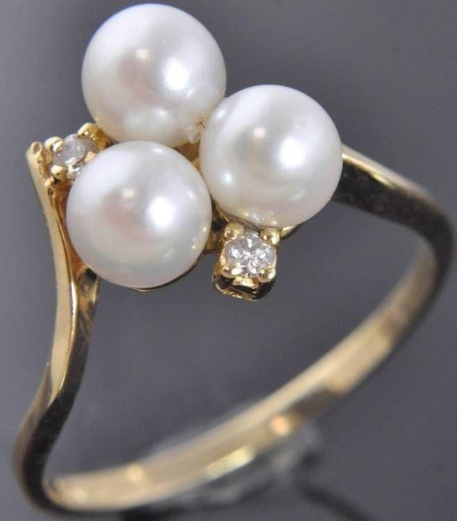 Jonte 14K Yellow Gold White Freshwater Pearl Diamond Cluster Ring Sz 6 #Jonte #Cluster