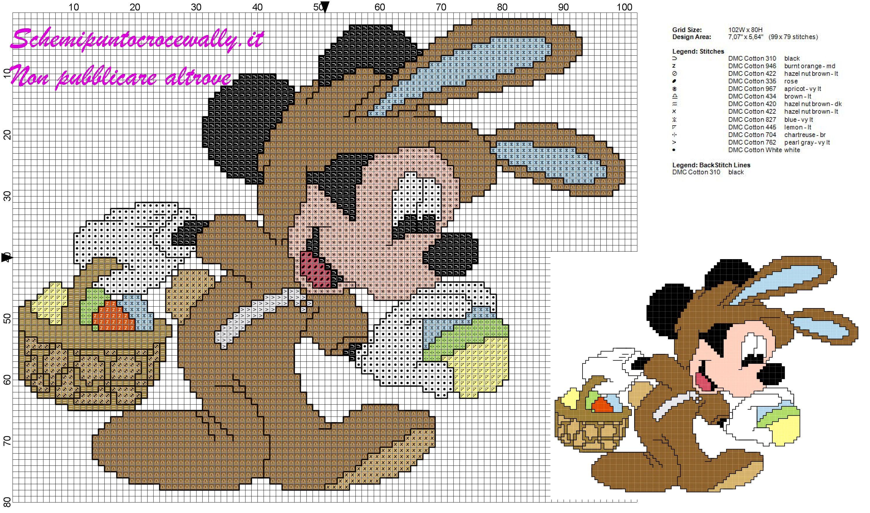 Schema punto croce gratis per bambini topolino con uova di for Ricamo punto croce bambini