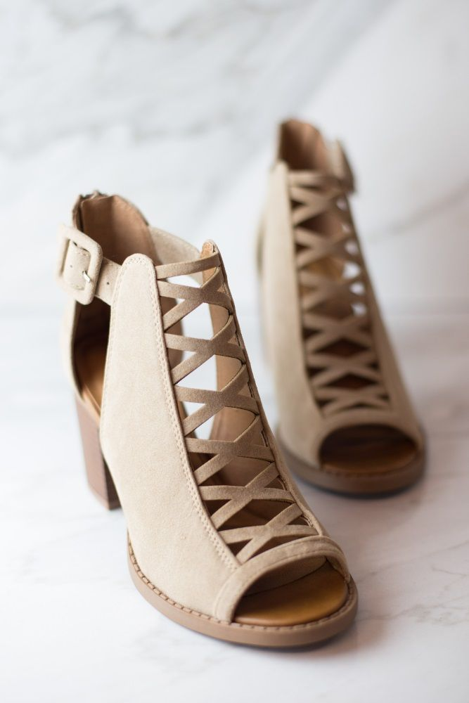 Taupe Faux Suede Crisscross Front Bootie