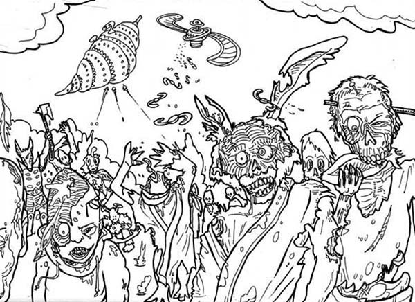 Hideous Zombie Coloring Page Kids Play Color Halloween Coloring Pictures Disney Coloring Pages Halloween Coloring