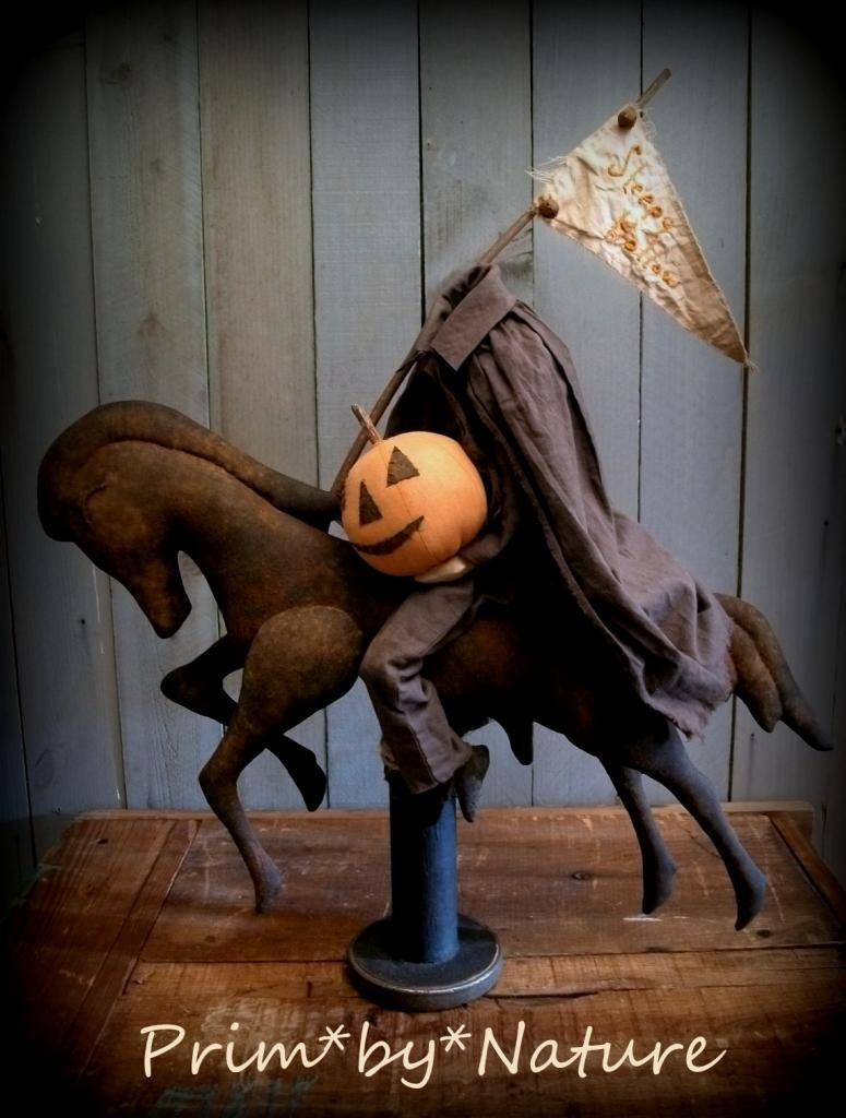 Primitive Sleepy Hollow Headless Horseman Doll. Made from Hand-dyed and painted materials. Perfect Halloween Prim Folk Art offered by Prim*by*Nature