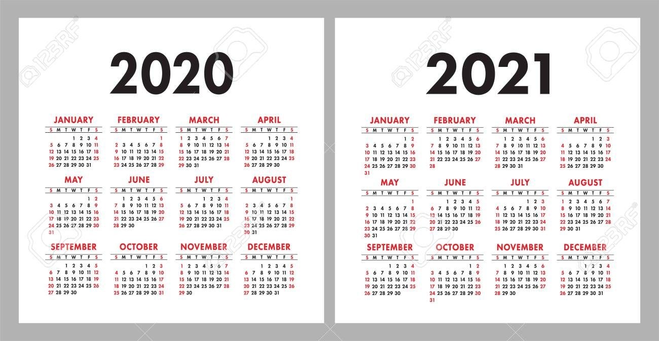 Calendar 2020 2021 Square Vector Calender Design Template English Colorful Set Week Starts On Sunday New Year Calender Design Design Template Calendar