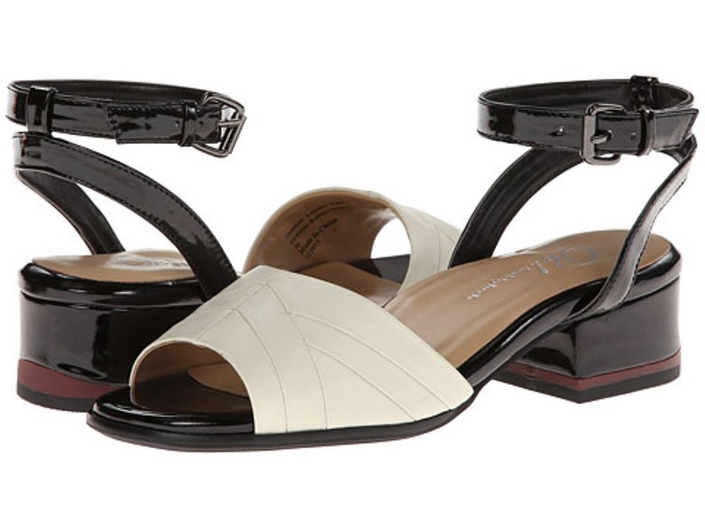 Women Ivory Napa Leather LBlack Patent Genuine Arch Ankle Sandals 8US 39EUR  $200 #OhShoes #